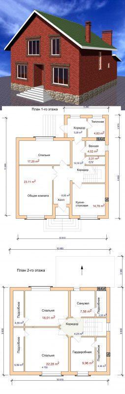 Проект загородного дома 11,5 на 10,5 с мансардой и тремя спальнями
