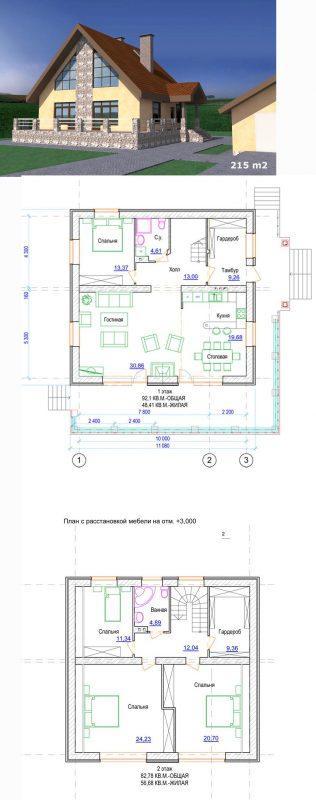 Проект дома с мансардой тремя спальными и гардеробом