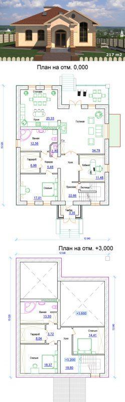 Одноэтажный проект дома с большими окнами