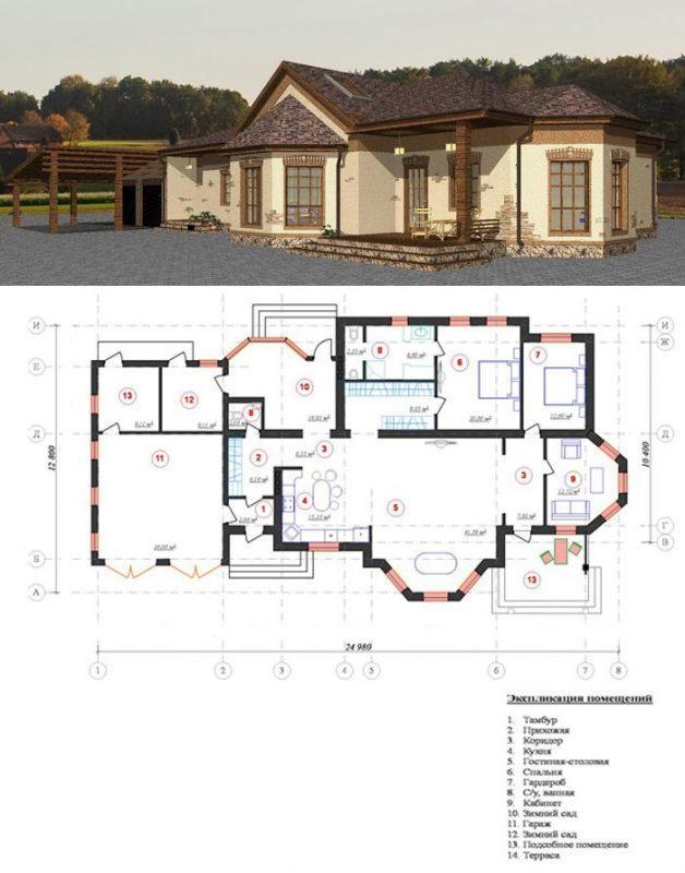 проект одноэтажного большого дома