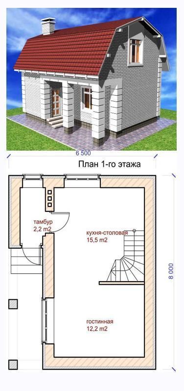 проект небольшого узкого дома