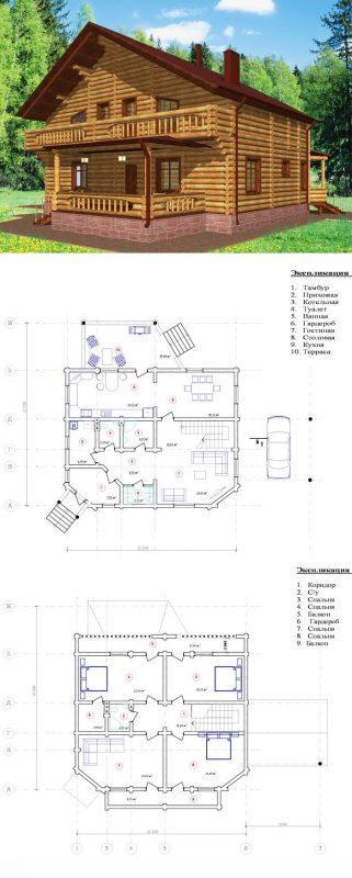 Проект дома деревянного дома с балконом В-9