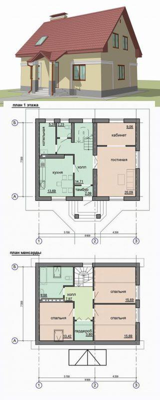 Проект дома с мансардой и тремя спальнями