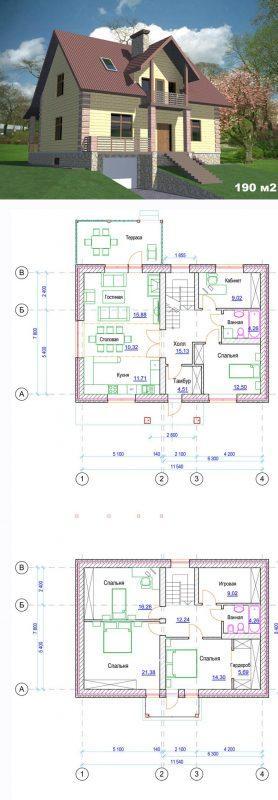 Проект дома с тремя спальнями и гостинной