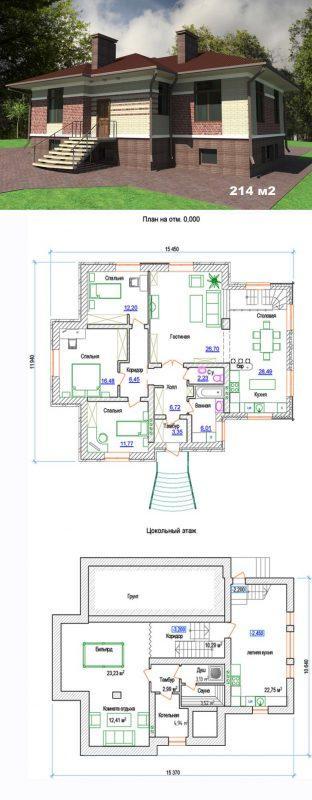 Проект одноэтажного дома с цоколем