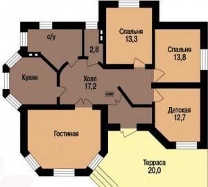 Проект одноэтажного дома 2