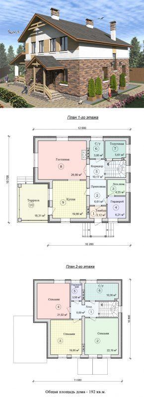 Проект дома с террасой и мансардой