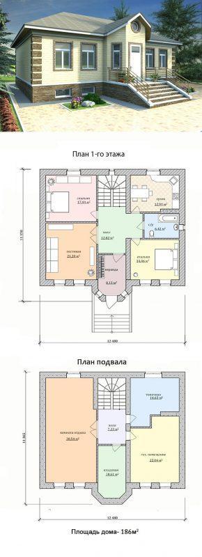 одноэтажный дом с подвалом