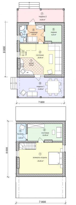 план трехкомнатного дома