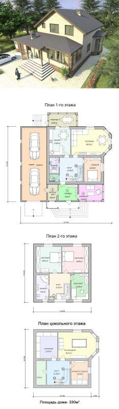 Проект дома с большой верандой