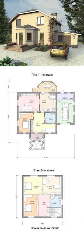 проект простого дома с гаражом