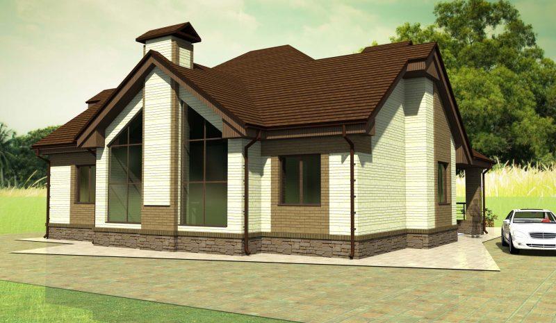 проект дома с витражнымии окнами