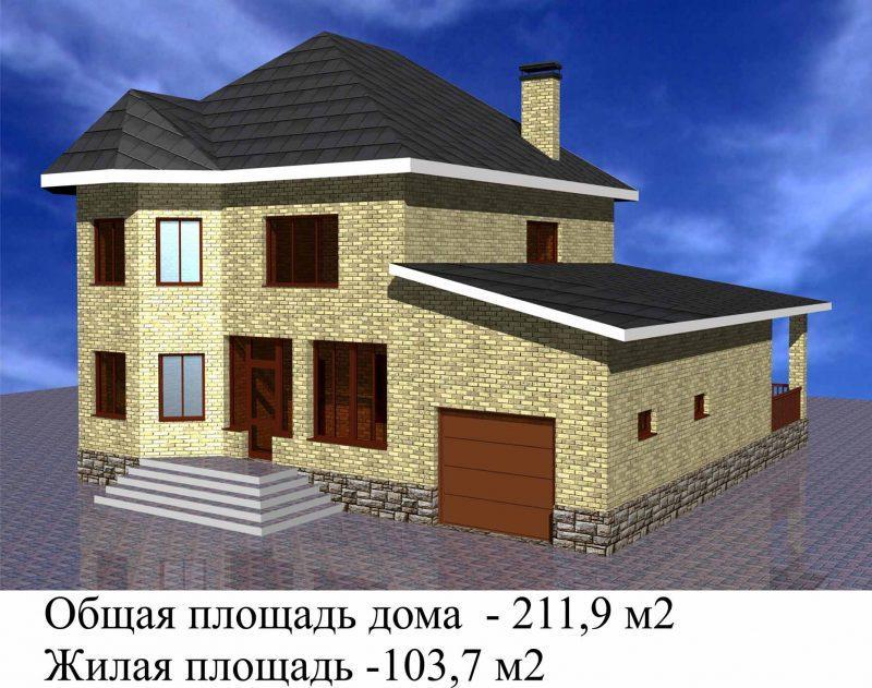 Готовый проект дома на три спальни с гаражом - архитектурное.