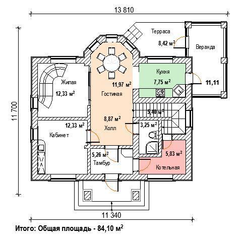 план дома с балконом и зимним садом