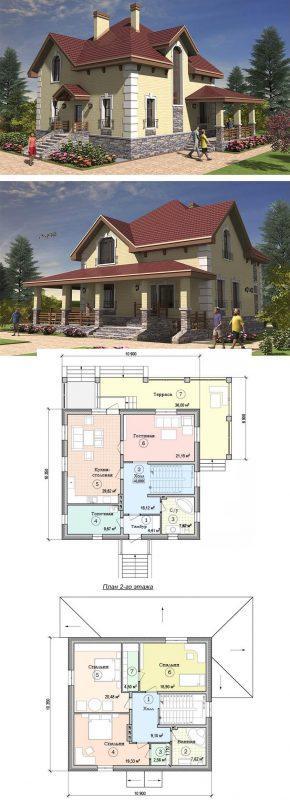 Проект элегантного дома с уютной террасой
