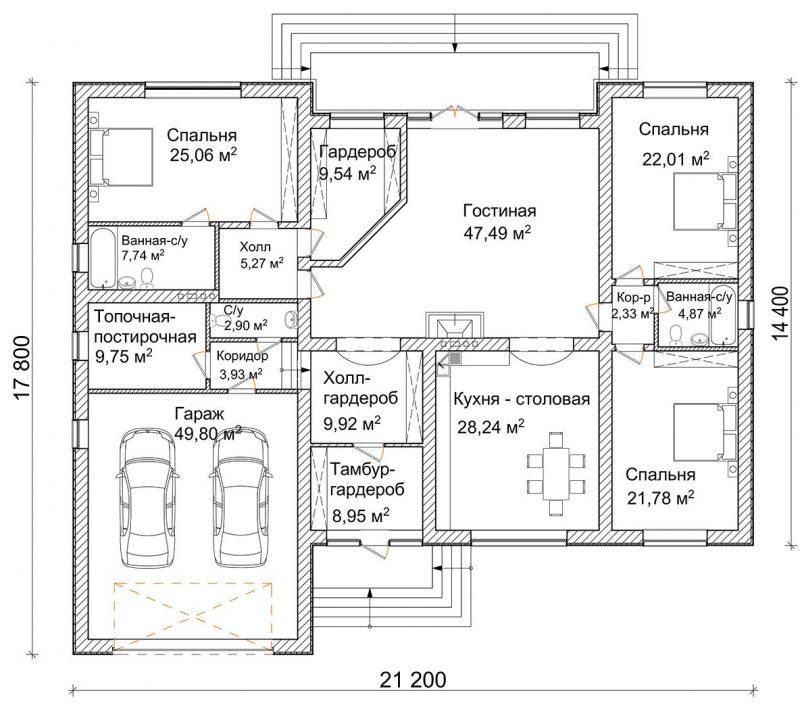 план дома без коридоров