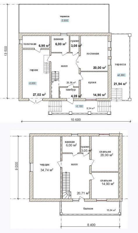 планы дома с верандой гаражом