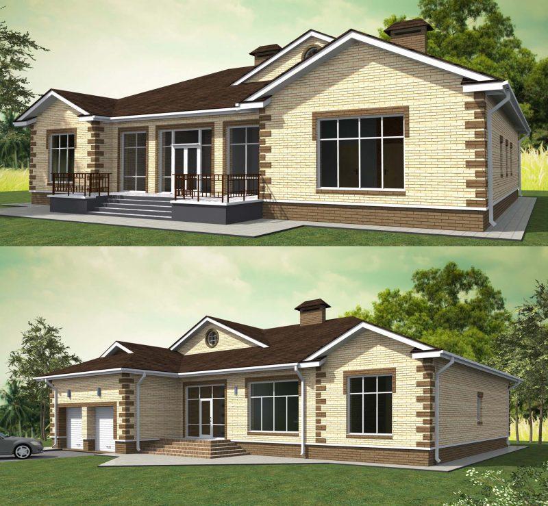 Одноэтажные дома с гаражом проекты