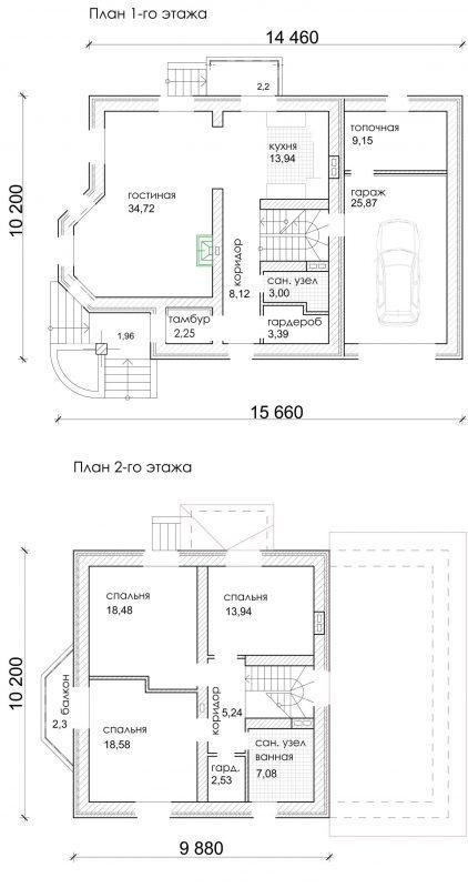 планировка дома с балконом и гаражом