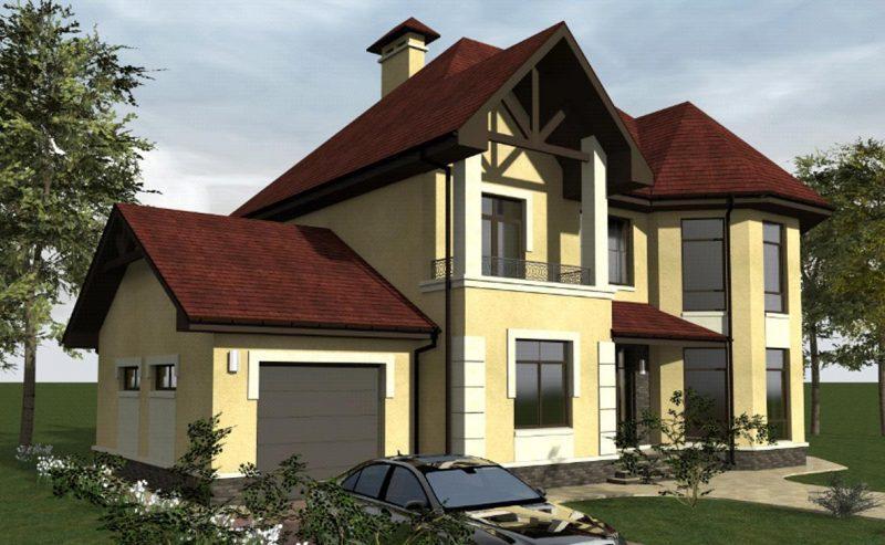 проект дома с эркером и балконом