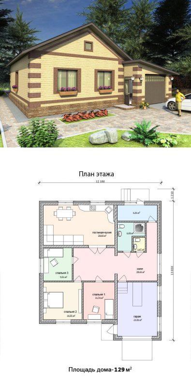 Проект бюджетного дома с гаражом