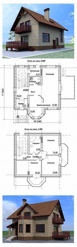 проект с эркером балконом и террасой