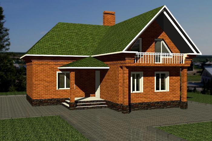 130м2 проект г образного дома с мансардой