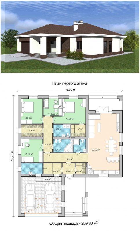 Проект одноэтажного оригинального дома