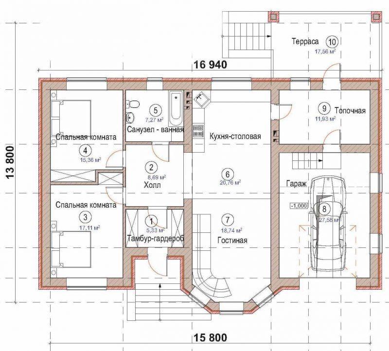 План этажа одноэтажного коттеджа
