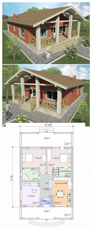Проект дома с открытой террасой