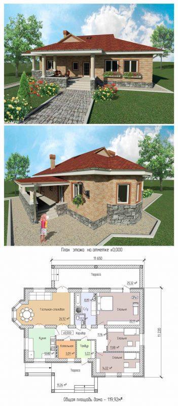 Проект одноэтажного, небольшого дома с просторной летней верандой.