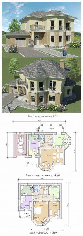 проект двухэтажного дома до 170 кв.м.