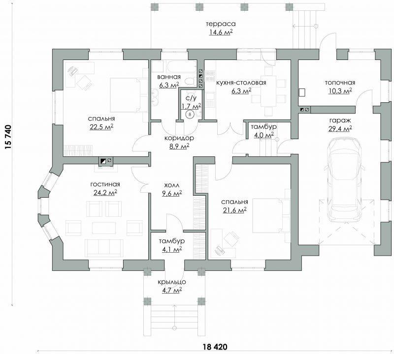План уютного изящного одноэтажного дома
