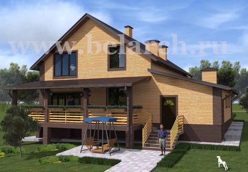 План дома с эркером и гаражом до 250 кв.м.