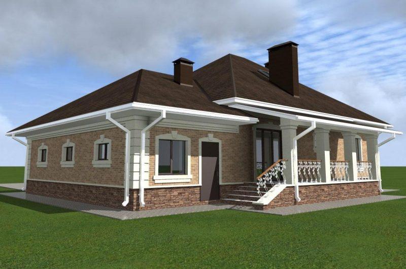 Проект уютного изящного дома в один этаж