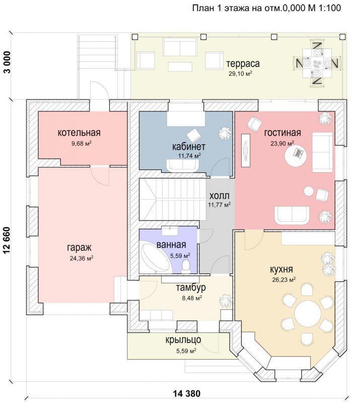 План 1 этажа дома с эркером и гаражом