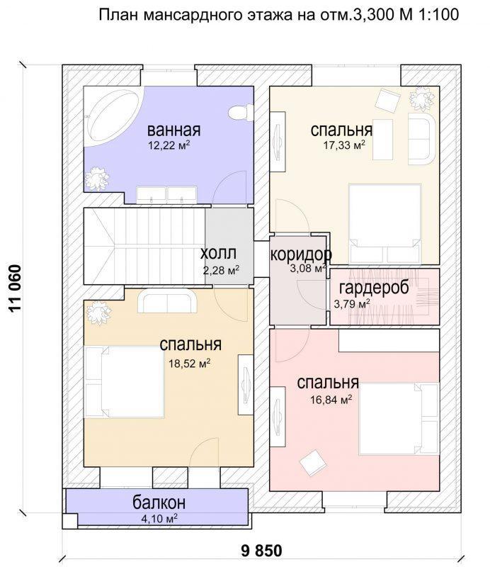 План второго этажа дома с эркером и гаражом