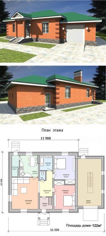 проект дома из красного кирпич