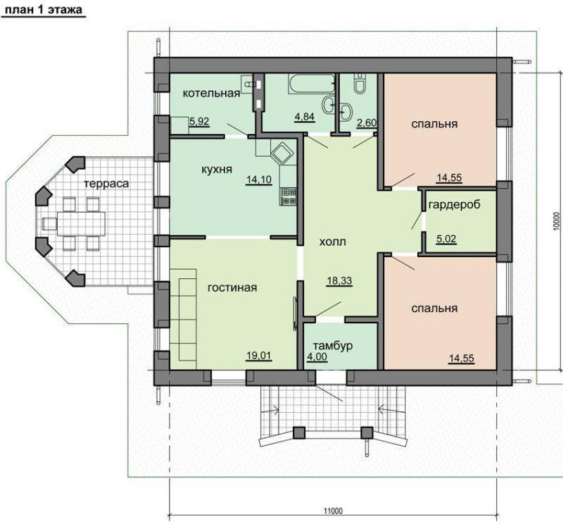 План типового дома до 100 кв.м.