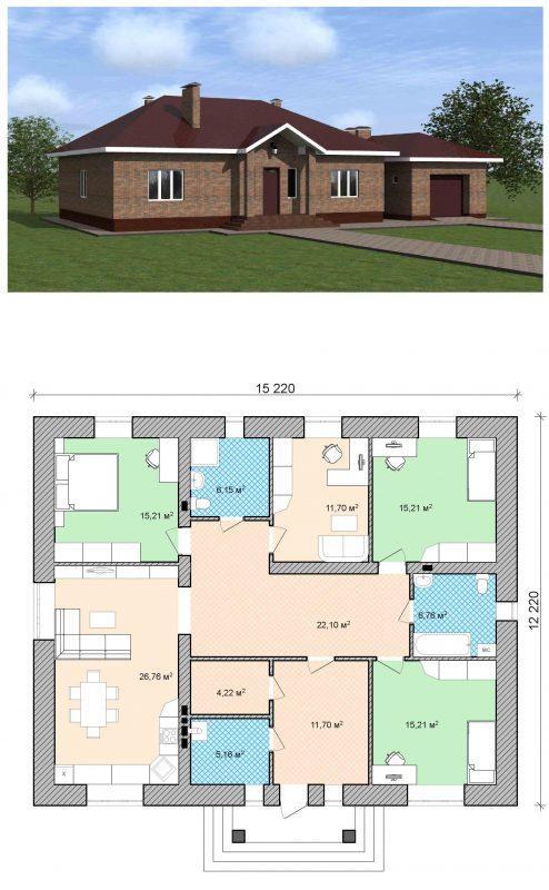проект одноэтажного простого дома