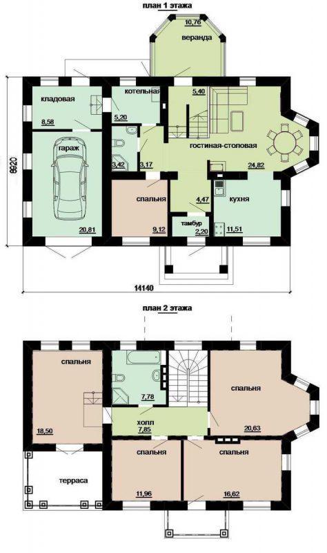 План двухэтажного дома до 200 кв.м.