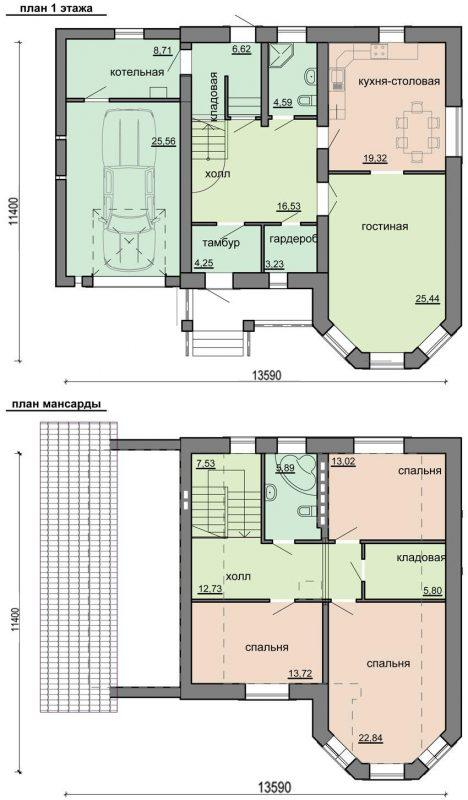 план красивого дома с гаражом