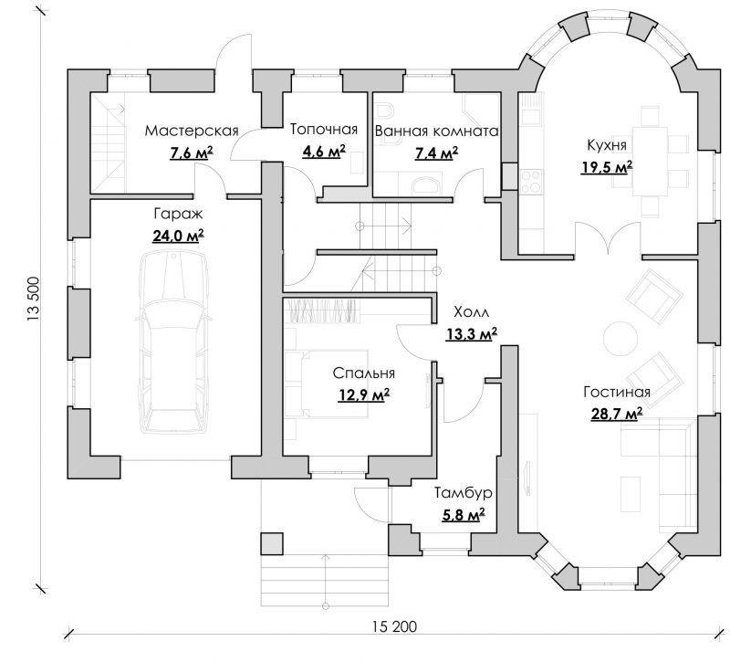 дом №6 План 1-го этажа - 200,6 м2