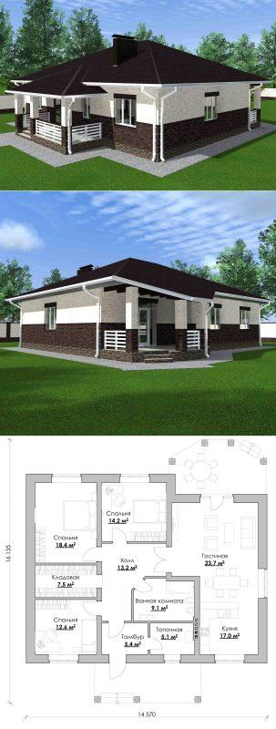 Проект дома 14х16 метров