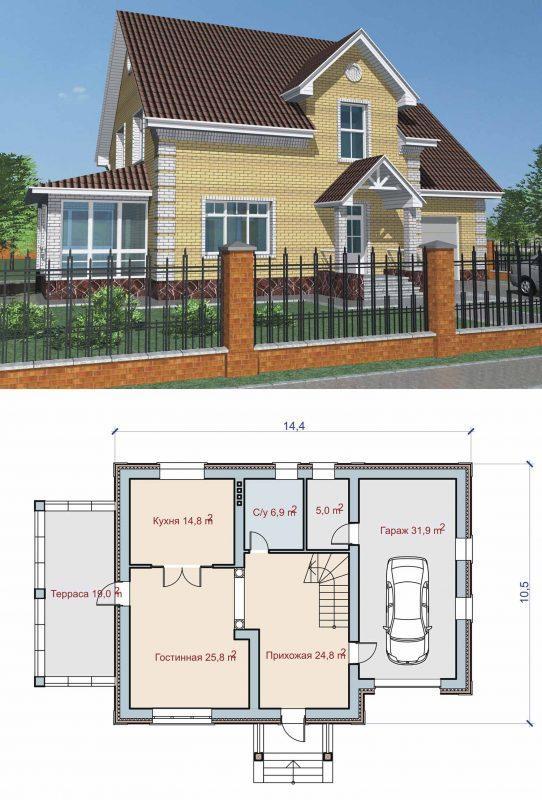 Проект дома с комнатой над гаражом