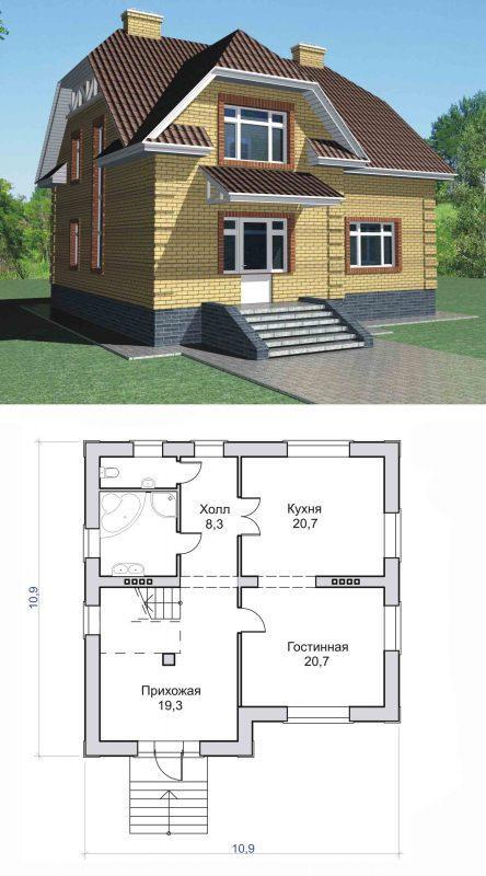 Проект мансардного дома 11х11 м