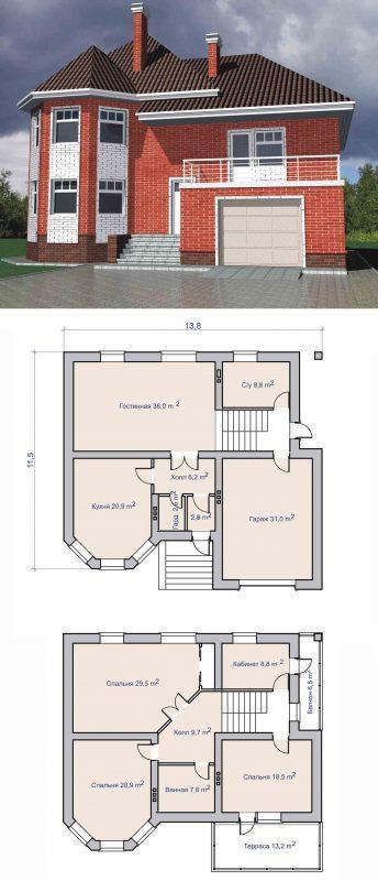 Проект двухэтажного дома с балконом 200 м2