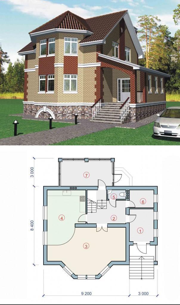 Проект дома с большой гостиной