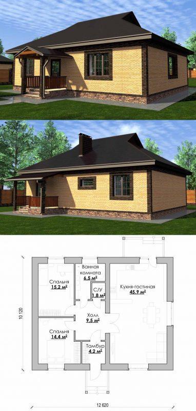 Проект красивого дома до 100 кв.м.