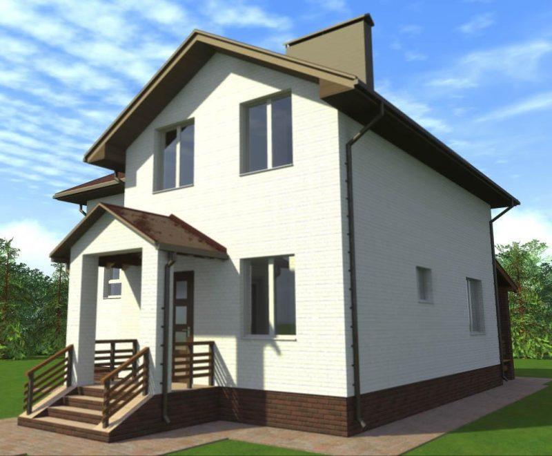 Проект белого дома с мансардой